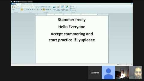 A Very nice discussion this week, on air(live) Stammer Freely Hangout Session on Youtube