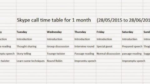 Skype meeting timetable