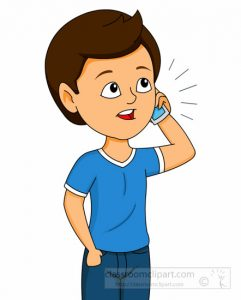 Boy Talking On Mobile Cell Phone Clipart